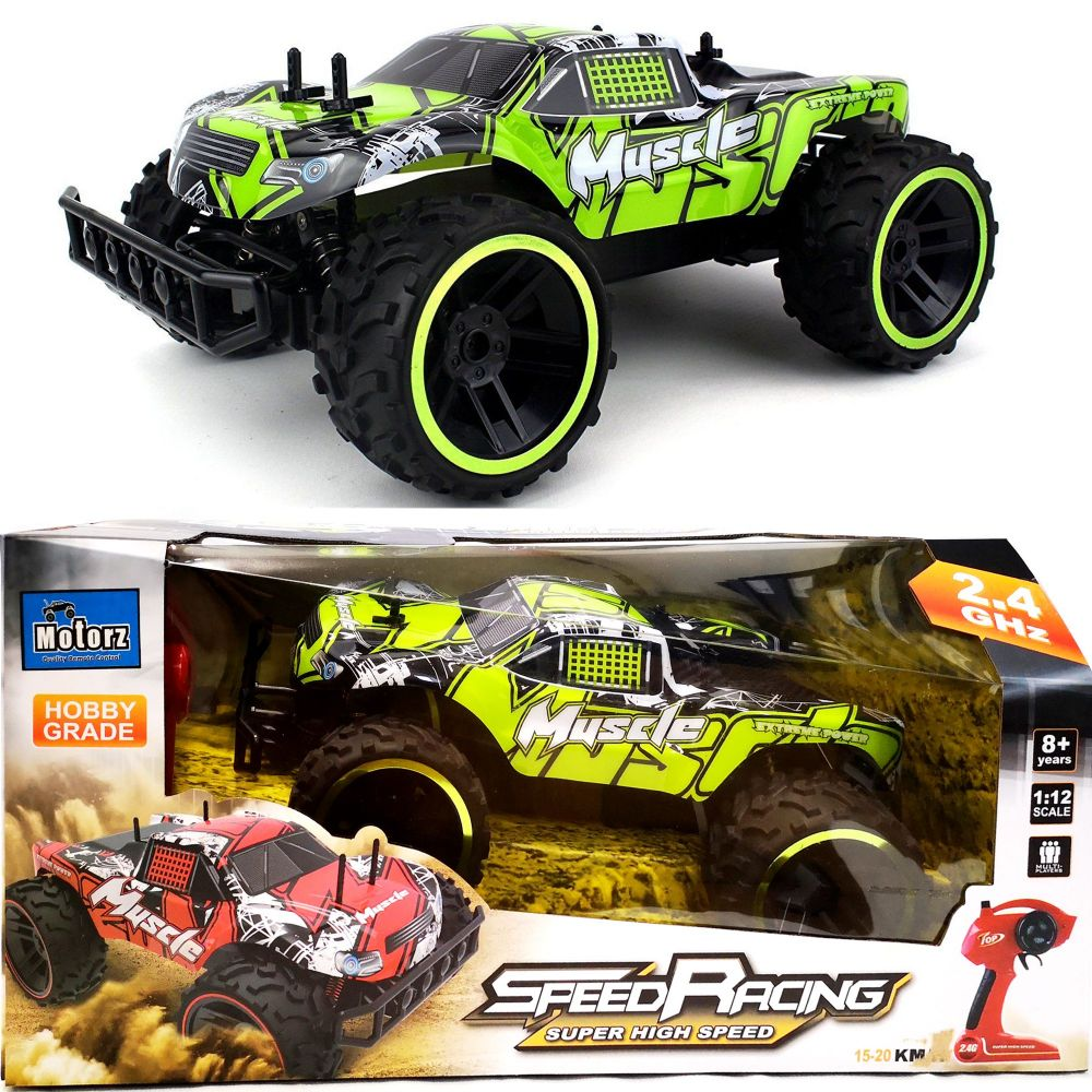 4CH 2.4G RC Remote COntrol Extreme Power Speed Racing Green Muscle Car 1:12 Scale
